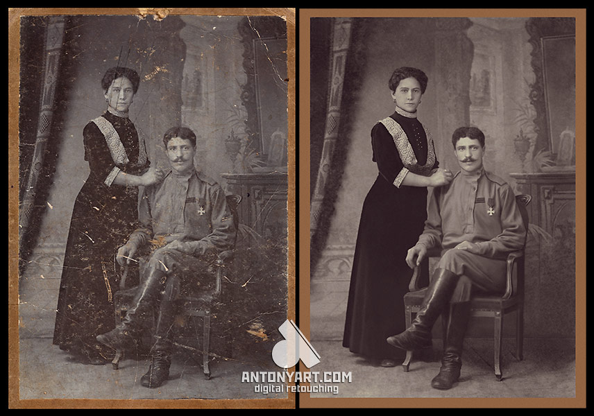 family portrait before and after restoration