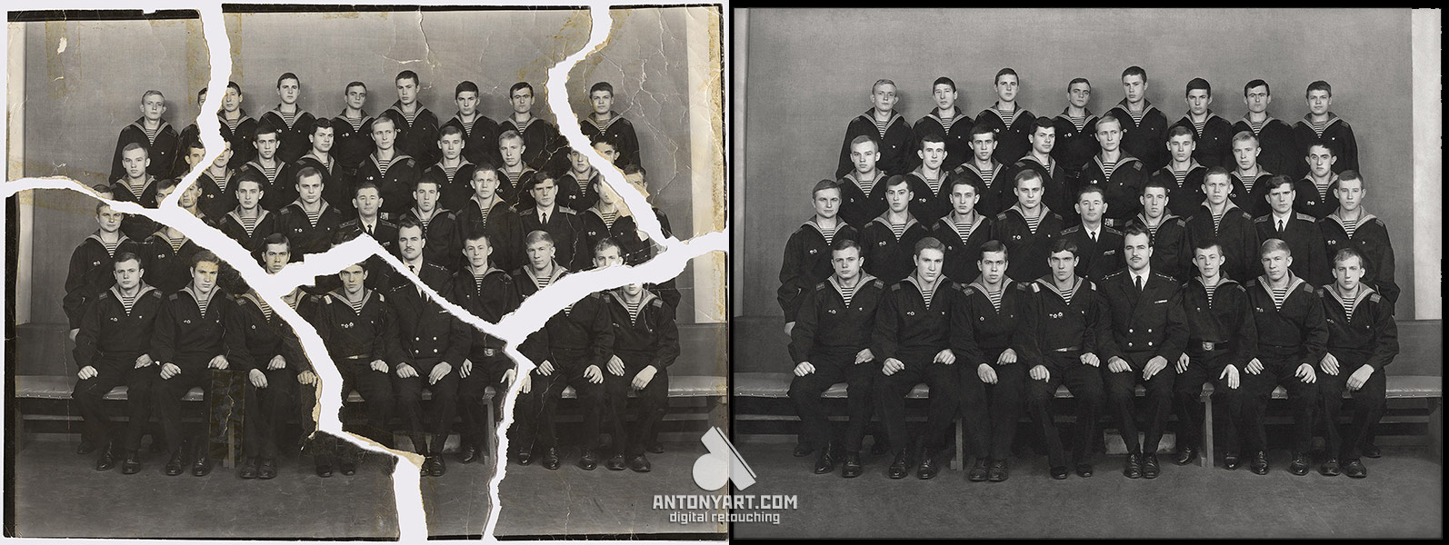 restore torn photo from a large number of people