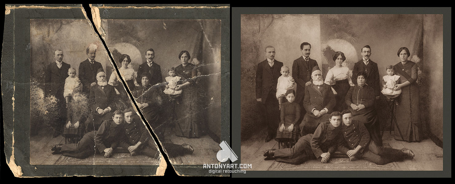 old torn family photograph before and after restoration