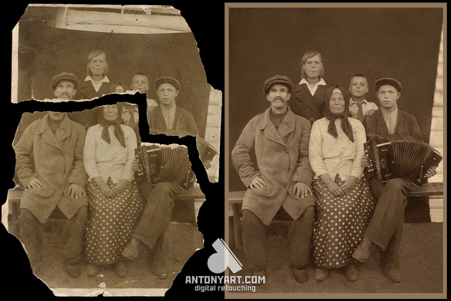 torn photograph before and after restoration