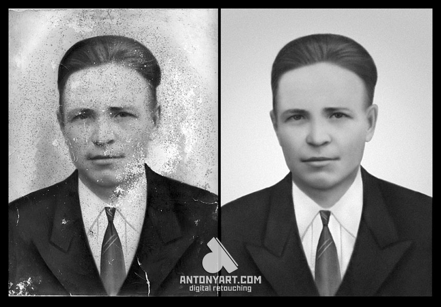 the restoration of a portrait photo with many scratches and spots on the face