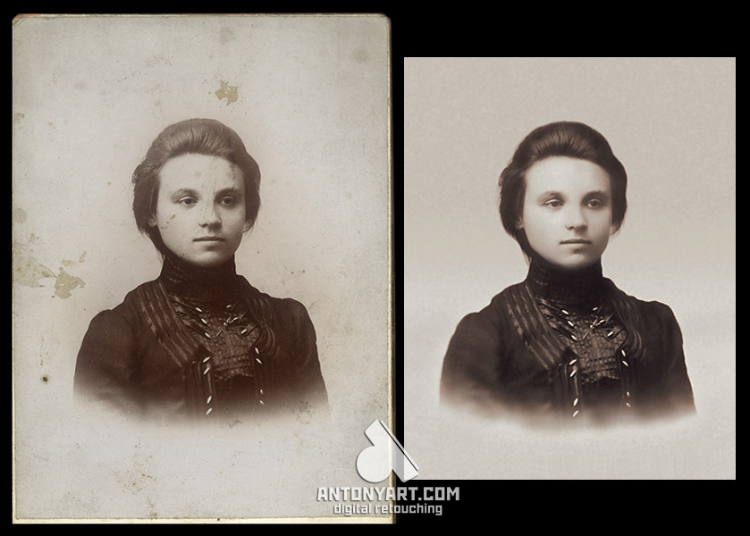 retouching old portrait of a woman