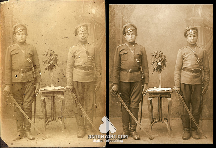 retouching photo of two soldiers