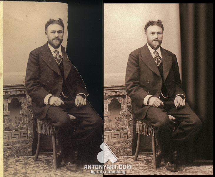 restoration of lost pieces of photography on a portrait of a seated man in a studio