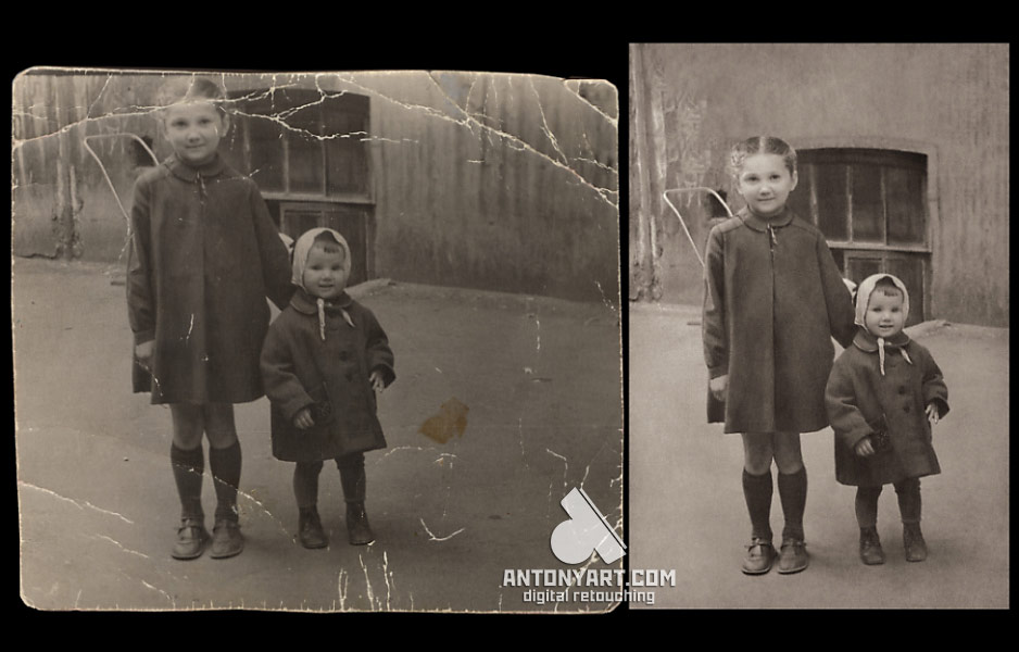 Retouch old photo of two children