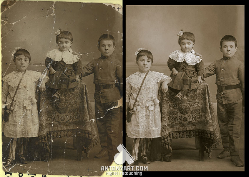 old photograph of children before and after restoration