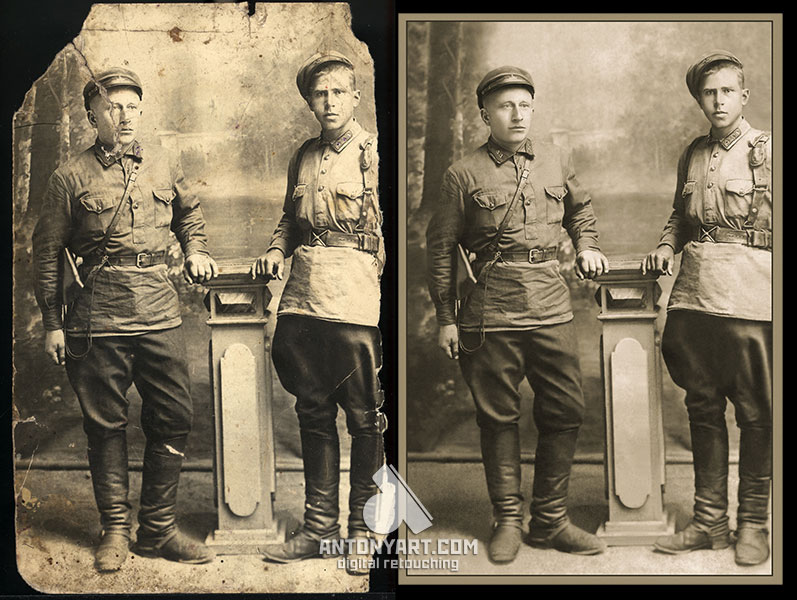 restoration photos of the two military in the studio