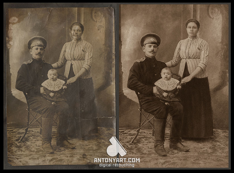 old family photograph before and after restoration