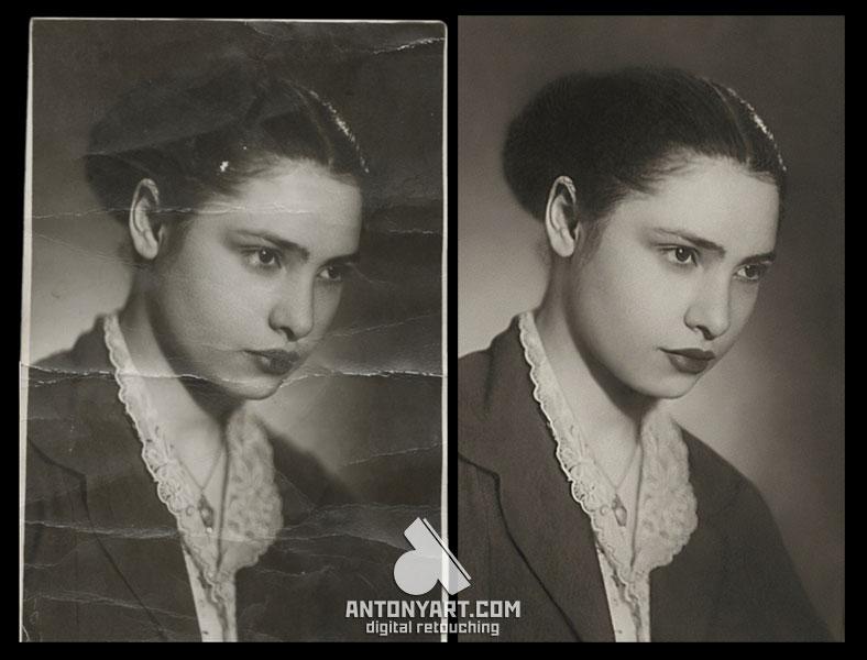 Retouching a portrait of a woman